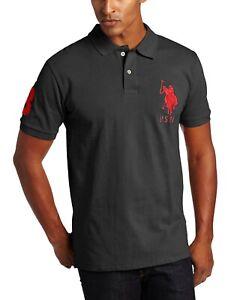 U-S-Polo-Assn-Men-039-s-Big-Pony-Pique-Polo-5XL-Shirt-Charcoal-Gray-NEW