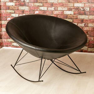 Image Is Loading Ozzy Round Designer Leather Rocking Chair Unique Bowl