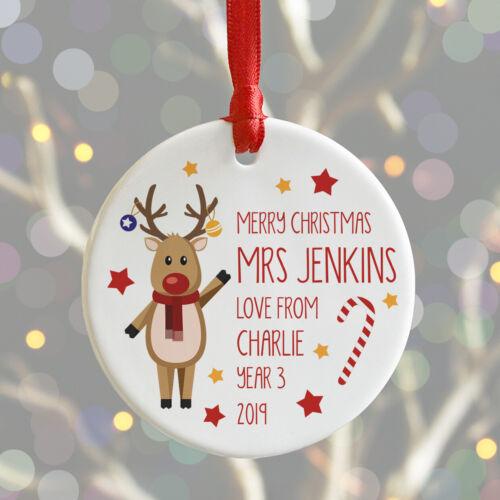 Personalised Teacher Christmas Bauble Ceramic School Keepsake #1 Decoration Gift