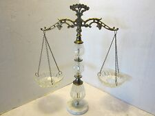 """Oberglas Justice Scale Art Glass Marble Metal Austria Hollywood Regency 20"""" tall"""