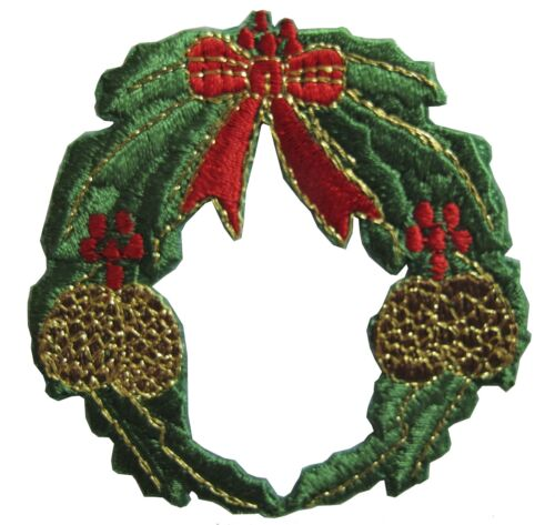 #2956 Christmas Wreath w//Bowknot,Pine Cone Embroidery Iron On Applique Patch