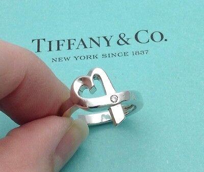 Tiffany & Co. Silver Paloma Picasso Diamond Loving Heart Ring Size UK L, US 6