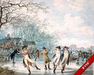 ICE SKATING IN HYDE PARK WINTER SCENE PAINTING ART REAL CANVAS GICLEEPRINT