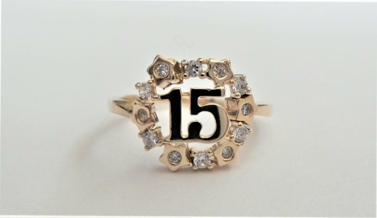 14k Solid Yellow gold Quinceanera CZ Stone Stars Ring - Size 6.5 - 2.3 Grams
