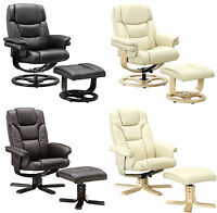 Luxury Executive Recliner Chairs & Footstool Extra Padded Leather 3 Colours