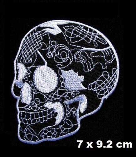Skull Head Tattoo Biker Horror Goth Punk Rock Iron//Sew-on Embroidered Patch