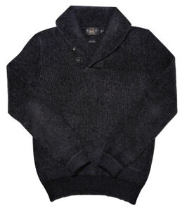 Ralph-Lauren-RRL-DOUBLE-RL-Herren-Shawl-Neck-Strick-Pullover-anthrazit-grau-Medium-M
