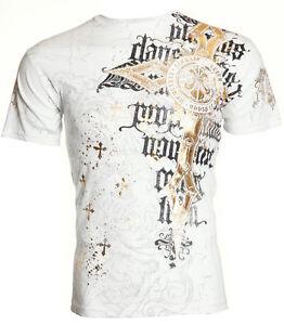 Archaic AFFLICTION Mens T-Shirt BAKEWELL Fleur Wings Tattoo Biker UFC M-4XL $40