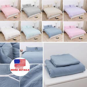Cotton-Duvet-Cover-Bedding-Sets-Pillowcases-Twin-Double-Queen-King-amp-11-Colors
