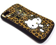 for iPhone 4 4s Hello Kitty Brown Cheetah Leopard Print Hard Gummy Rubber Case