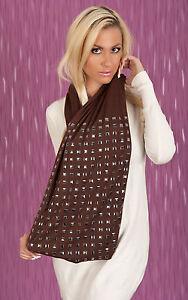 Kleidung & Accessoires Edler Nieten Schal Braun Women's Scarf A2-2403