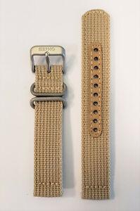Original-SEIKO-18mm-SNK803-SNK803K2-Beige-Nylon-Cloth-Watch-Band-Strap-w-Pins