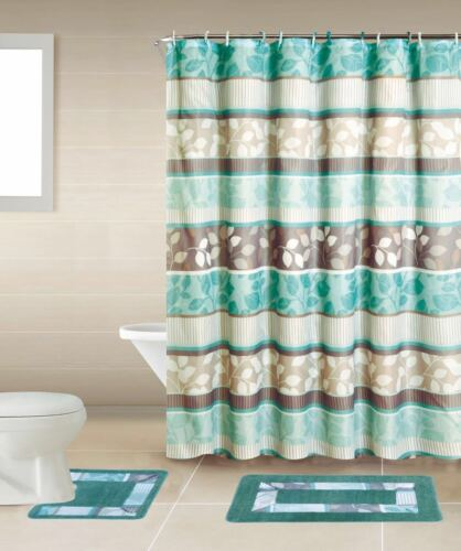 Empire Home 15-Piece Blue & Brown Flower Bathroom Set Rugs - Free Shipping!