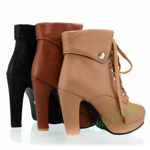 Classic Ankle Boot Retro Lace Up Punk Women Platform Chunky Heel Plus Size Shoes