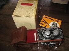 ROLLEIFLEX 3.5F CUSTODIA PELLE BOX PELLE BOX CARL ZEISS 75 MM INUSATA COMPLETA