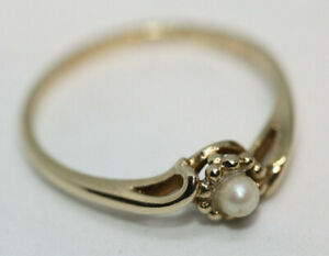 Genuine-Freshwater-Round-3-MM-Pearl-Ladies-10K-Solid-Real-Gold-Women-039-s-Ring-Sz-6