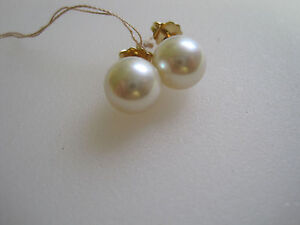 #117 ladys 14K gold AAA-1 9mm cultured pearl ear studs
