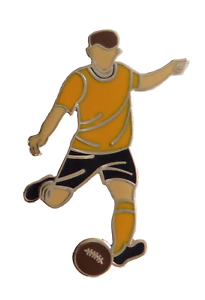 Gold & Black Football Player Gold Plated Pin Badge