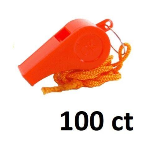 100 Whistles Orange Emergency Loud Signal Distress Whistle Survival Plastic