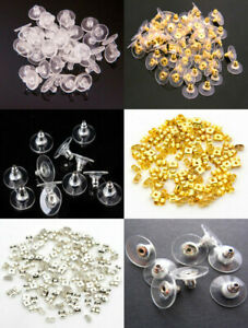 100Pcs Rubber Back Silicone Round Blocked Plastic Earring Ear Plugging For DIY