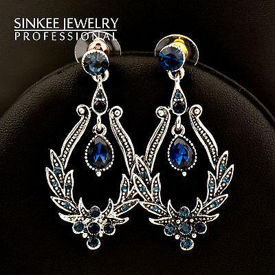 Free Shipping 10Pcs Wholesale Women Vintage Blue Zircon Dangle Earrings Es611