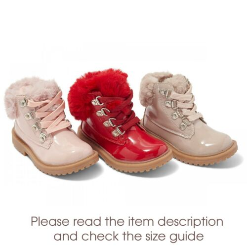 Girls Patent Faux Fur Trim Lace Up Winter Boots Rubber Sole Spanish Style UK 6-1