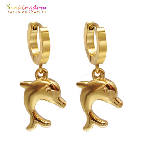 Lovely Dolphin forme design plaqué or Lady Link Drop Boucles D/'oreilles Bijoux