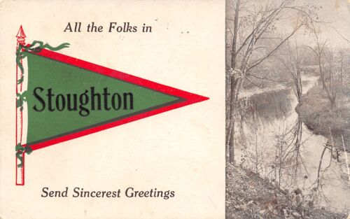 """All the Folks"" in Stoughton WisconsinSend Sincerest Greetings1913 Pennant PC"