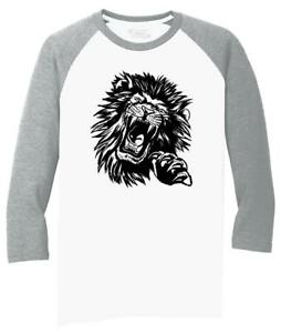 Mens-Lion-Face-3-4-Triblend-Animal-Graphic
