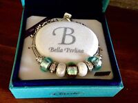 Bella Perlina Charm Bead Bracelet - Aqua Blue Brown -