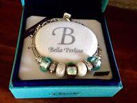 Bella Perlina Charm Bead Bracelet - Aqua Blue Brown -