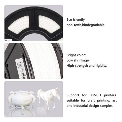 PLA 3D Printer Filament 1.75mm 1KG//2.2LB Spool White Printing Consumables