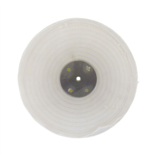 """White Close Stitched Polishing Buffing Mop 8/"""" x 1/"""" 2 Row With Compound 250g"""