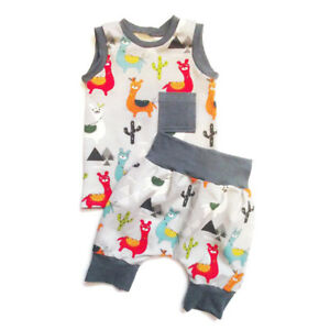 5bf0826e8 US Kids Baby Boy Girl Vest Tops+Pants Shorts 2PCs Outfits Alpaca ...