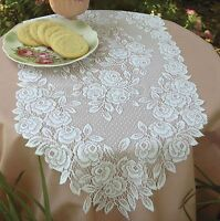Tea Rose Table Runner By Heritage Lace, Choice Of 2 Colors And 4 Sizes, Romantic