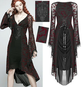 Robe-dentelle-soiree-gothique-lolita-baroque-veines-velours-corset-PunkRave-Roug