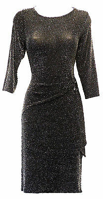 Retro 1960s Black Silver Metallic Lurex sheer Mod GoGo Party Mini Dress