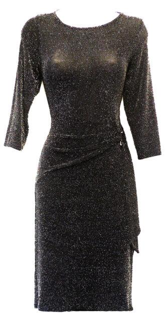 Retro 1960s Black Silver Metallic Lurex sheer Mod GoGo Party Mini Dress