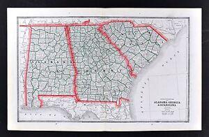 c 1883 Geo Cram Map US South Alabama Georgia South Carolina Florida ...
