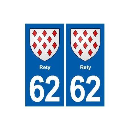 62 Rety blason autocollant plaque stickers ville -  Angles : droits