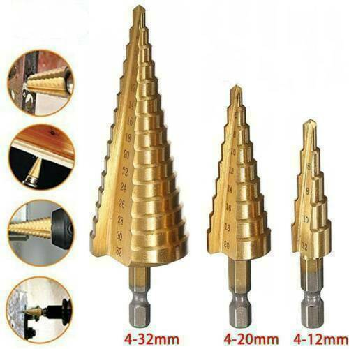 Large HSS Step Cone Drill Titanium Bit Set Hole Metal Cutter 4-20mm ~ HOT SALE
