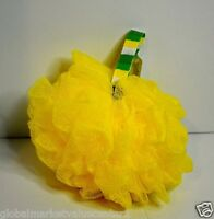 2 Bath & Body Works Yellow Lime Big Exfoliating Pouf Gauze Bath Sponge W Holder