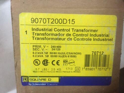 NEW SQUARE D 9070T200D15 TRANSFORMER 240//480 24//120 0.2 kVA 50//60 Hz