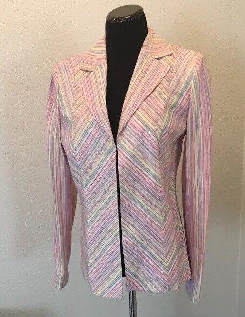Women's Dana Buchman Blazer NWT Size 8 Pastel Striped