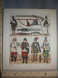 Rare-Antique-Orig-VTG-France-Military-Costumes-Weapons-Pistols-Color-Litho-Print