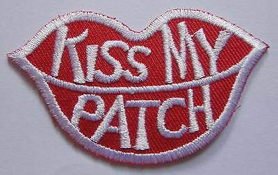 PRETTY CUTE KISS MY PATCH LIPS LOGO Embroidered Iron on Patch Free Postage