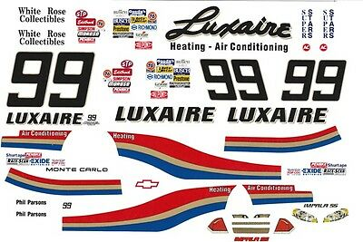 #99 Phil Parson Luxaire Chevy 1/64th - Ho Scale Slot Car Decals