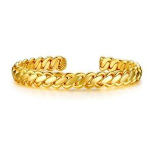 Details about 7 5MM Stainless Steel Gold Opening Twist Bracelet Gold  Plating Women's Bangles