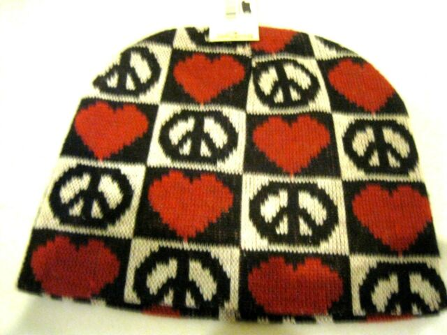 Multiple Hearts And Peace Sign Symbol Imprints On Black Hat Cap Ebay