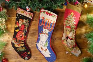Hand-Crafted-Needlepoint-Christmas-Stocking-Santa-Claus-Snowman-Xmas-tree
